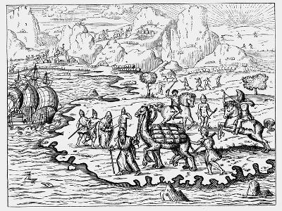 Merchants Transporting Goods to the Coast and a Waiting Vessel by Camel, 1575--Giclee Print