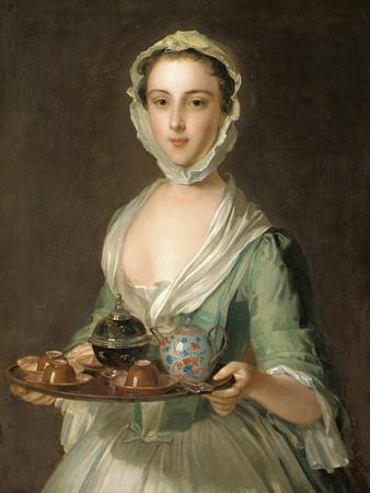 Portrait of a Young Woman, Possibly Hannah, the Artist's Maid, Holding a Tea Tray