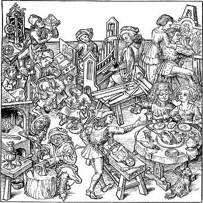 Mercury and His Children. Illustration from the Housebook, 1480S--Giclee Print