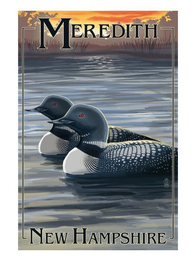Meredith, New Hampshire - Loons-Lantern Press-Art Print