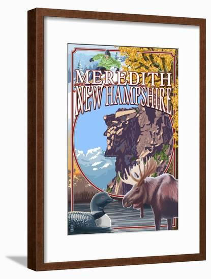 Meredith, New Hampshire - Montage-Lantern Press-Framed Art Print