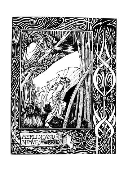 Merlin and Nimue-Aubrey Beardsley-Giclee Print
