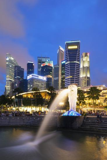 Merlion and Marina Bay Downtown Buildings, Singapore, Southeast Asia, Asia-Christian Kober-Photographic Print