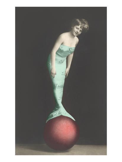 Mermaid Balanced on Ball--Art Print