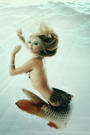 Mermaid Beautiful Magic Underwater Mythology Being Original Photo Compilation-khorzhevska-Art Print