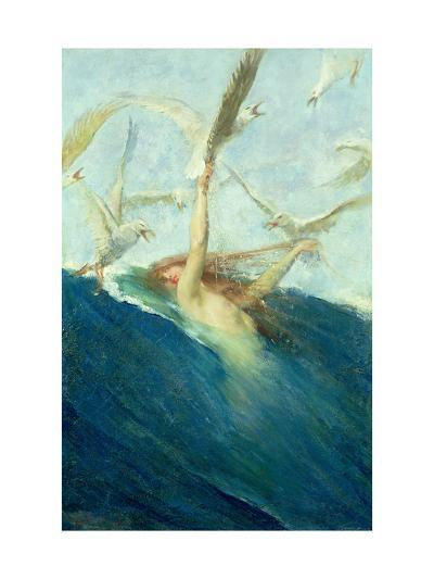 Mermaid Being Mobbed by Seagulls-Giovanni Segantini-Giclee Print
