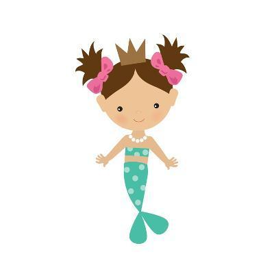 Mermaid,Girl,Cute,Funny,Vector,Cartoon,Illustration-Svetlana Peskin-Art Print