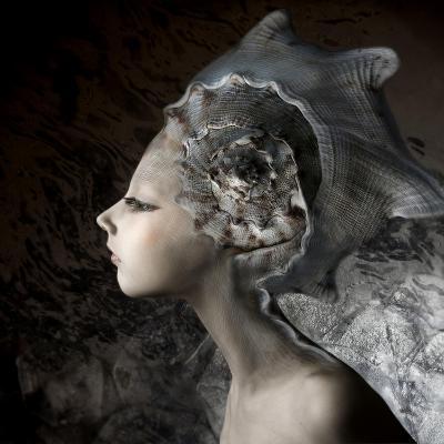 Mermaid Girl In An Unusual Headgear, A Hat-Lilun-Art Print