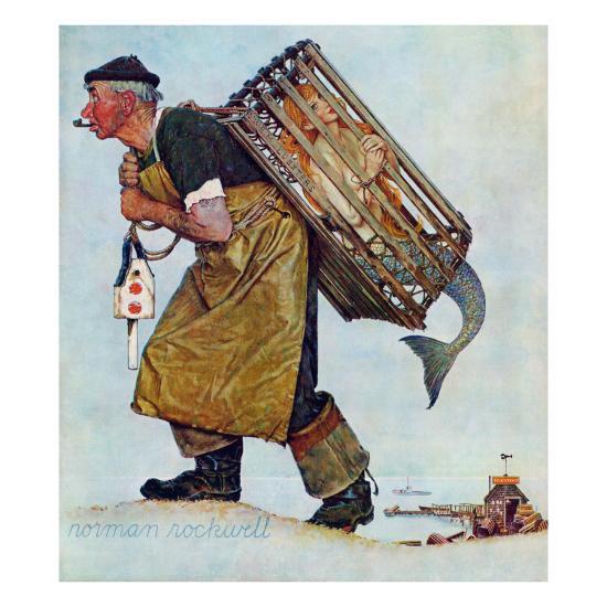 """""""Mermaid"""" or """"Lobsterman"""", August 20,1955-Norman Rockwell-Premium Giclee Print"""