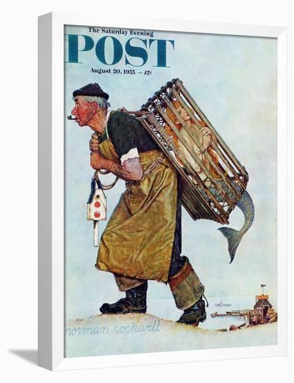 """Mermaid"" or ""Lobsterman"" Saturday Evening Post Cover, August 20,1955-Norman Rockwell-Framed Stretched Canvas Print"