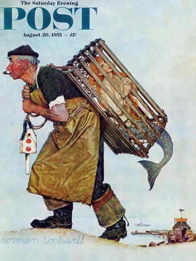 """""""Mermaid"""" or """"Lobsterman"""" Saturday Evening Post Cover, August 20,1955-Norman Rockwell-Giclee Print"""
