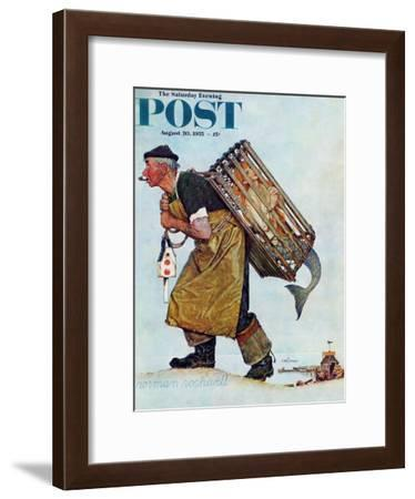 """""""Mermaid"""" or """"Lobsterman"""" Saturday Evening Post Cover, August 20,1955-Norman Rockwell-Framed Giclee Print"""