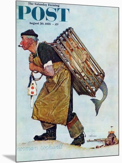 """Mermaid"" or ""Lobsterman"" Saturday Evening Post Cover, August 20,1955-Norman Rockwell-Mounted Giclee Print"
