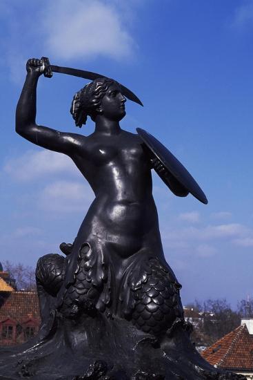 Mermaid Statue, Symbol of Warsaw Since 1855, Bronze Sculpture by Konstanty Hegel, Warsaw, Poland--Giclee Print