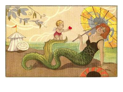 Mermaid with Cupid--Art Print