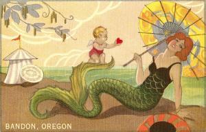 Mermaid with Parasol, Bandon, Oregon