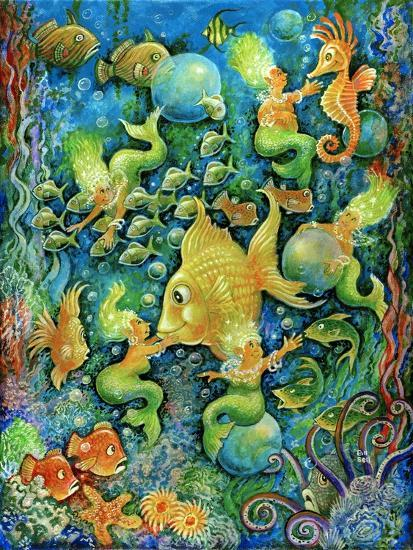 Mermaids and Gold Fish-Bill Bell-Giclee Print