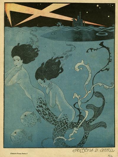 Mermaids and U-Boats-Georges Barbier-Giclee Print
