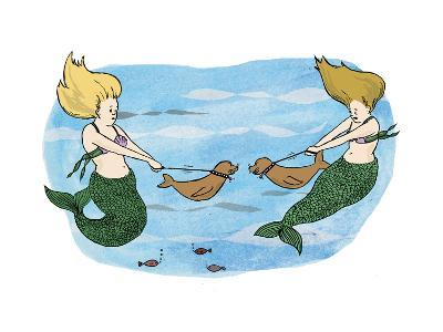 Mermaids holing their sea lion pups away from each other. - Cartoon-Emily Flake-Premium Giclee Print