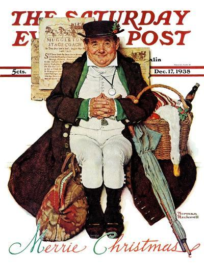 """""""Merrie Christmas"""" or Muggleston Coach Saturday Evening Post Cover, December 17,1938-Norman Rockwell-Giclee Print"""