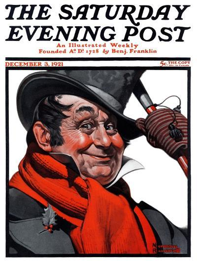 """Merrie Christmas"" Saturday Evening Post Cover, December 3,1921-Norman Rockwell-Giclee Print"
