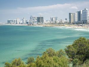 Beach, Skyline and Mediterranean Sea Viewed from Old Jaffa, Tel Aviv, Israel, Middle East by Merrill Images