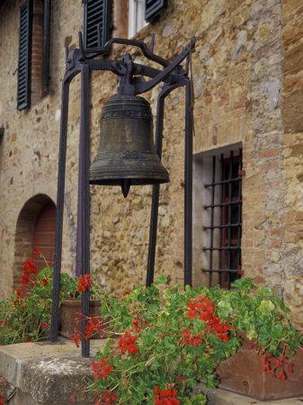 Bronze Bell, Geraniums and Farmhouse, Tuscany, Italy