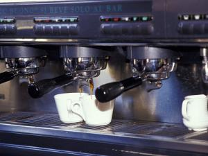 Cappucino Machine and Cups, Rome, Italy by Merrill Images