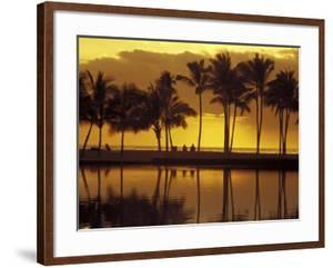 Couple, Palm Trees and Sunset Reflecting in Lagoon at Anaeho'omalu Bay, Big Island, Hawaii, USA by Merrill Images