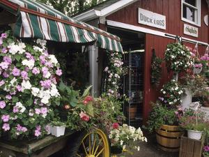 Farm Stand in Red Barn with Flowers, Long Island, New York, USA by Merrill Images