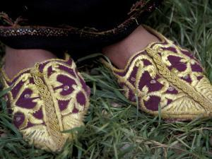 Girl's Embroidered Babouches (Slippers), Morocco by Merrill Images