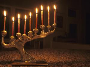 Menorah with Candles, Lit for Chanukah, Bellevue, Washington, USA by Merrill Images