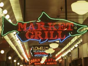 Neon Signs in Pike Place Market, Seattle, Washington, USA by Merrill Images