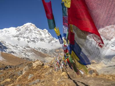 Nepal, Annapurna Conservation Area, Annapurna Base Camp, Annapurna South with prayer flags.