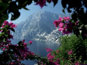 Positano and the Amalfi Coast through Bougainvilla Flowers, Italy by Merrill Images