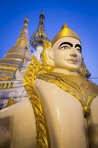 Shwedagon Pagoda in Yangon, Myanmar (Burma) Lit at Dusk by Merrill Images