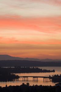 Skyline and Olympic Mountains, Sunset, Lake Washington, Seattle, Washington, USA by Merrill Images