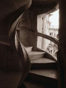 Spiral Stone Staircase in Convento de Cristo by Merrill Images