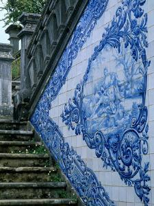 Stone Chairs and Azulejo Tiles, Rococo Palace, Cacela Velha, Portugal by Merrill Images