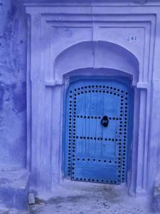 Traditional Moorish-styled Blue Door, Morocco by Merrill Images