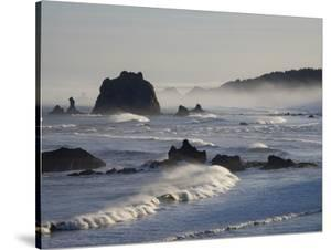 Usa, Oregon, Bandon. Bullards Beach State Park, sea stacks and waves. by Merrill Images