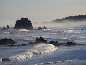 Usa, Oregon, Bandon. Bullards Beach State Park, sea stacks and waves. by Merrill Images
