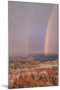Usa, Utah, Bryce Canyon National Park. Double rainbow and hoodoos at dusk. Bryce Amphitheater by Merrill Images