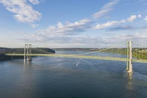 USA, Washington State, Tacoma. Tacoma Narrows Bridge spanning the Tacoma Narrows strait by Merrill Images