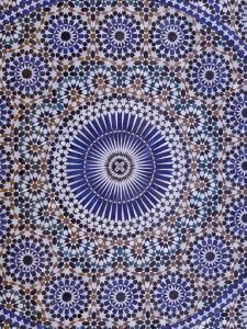 Zellij (Geometric Mosaic Tilework) Adorn Walls, Morocco by Merrill Images