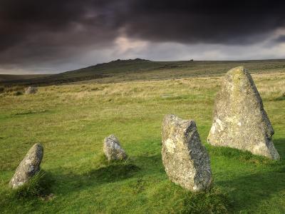 Merrivale Stone Row, Stormy Evening, Dartmoor Np, Devon, Uk. September 2008-Ross Hoddinott-Photographic Print