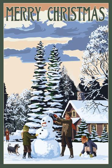 Merry Christman - Snowman Scene-Lantern Press-Art Print
