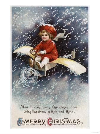 Merry Christmas - Boy Flying Make-Shift Airplane-Lantern Press-Art Print
