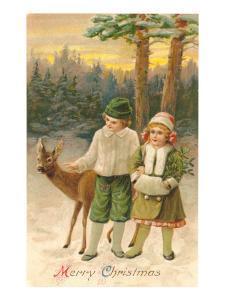 Merry Christmas, Children with Deer