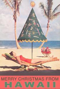 Merry Christmas from Hawaii, Conical Umbrella on Beach